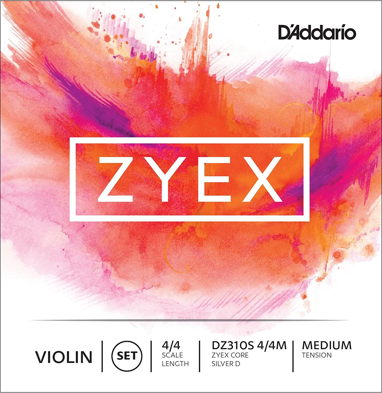 D'Addario Zyex Violin String Set with Silver D, 4/4 Scale, Medium Tension