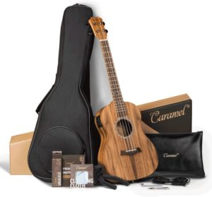 Caramel CB207 Acacia Baritone Acoustic Electric Ukulele with Truss Rod with Additional Strings, Padded Gig Bag, Strap and EQ cable
